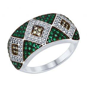 Кольцо из серебра с бесцветными, жёлтыми и зелеными фианитами 94012584 SOKOLOV