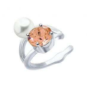 Серьга из серебра с жемчугом Swarovski и розовым кристаллом Swarovski 94170066 SOKOLOV