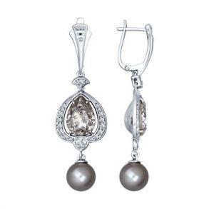 Серьги длинные из серебра с миксом камней 94022156 SOKOLOV