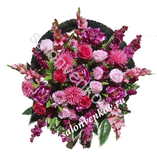 Ритуальная корзина из искусственных цветов N23, РАЗМЕР 60см, 80см,90 см