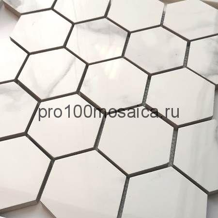 Мозаика Calacatta полированная 26,7x30,8 см (чип гексагон, артикул BMB8561M1)