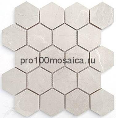 Мозаика Nuvola grigio полированная 26,7x30,8 см (чип гексагон, артикул BMB8557CP)