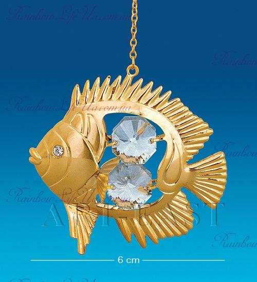 """Подвеска рыбка с камнями """"Swarovski"""""""