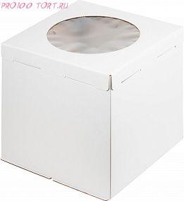 Коробка для торта, 300х300х300, гофрокартон, белая, с окном