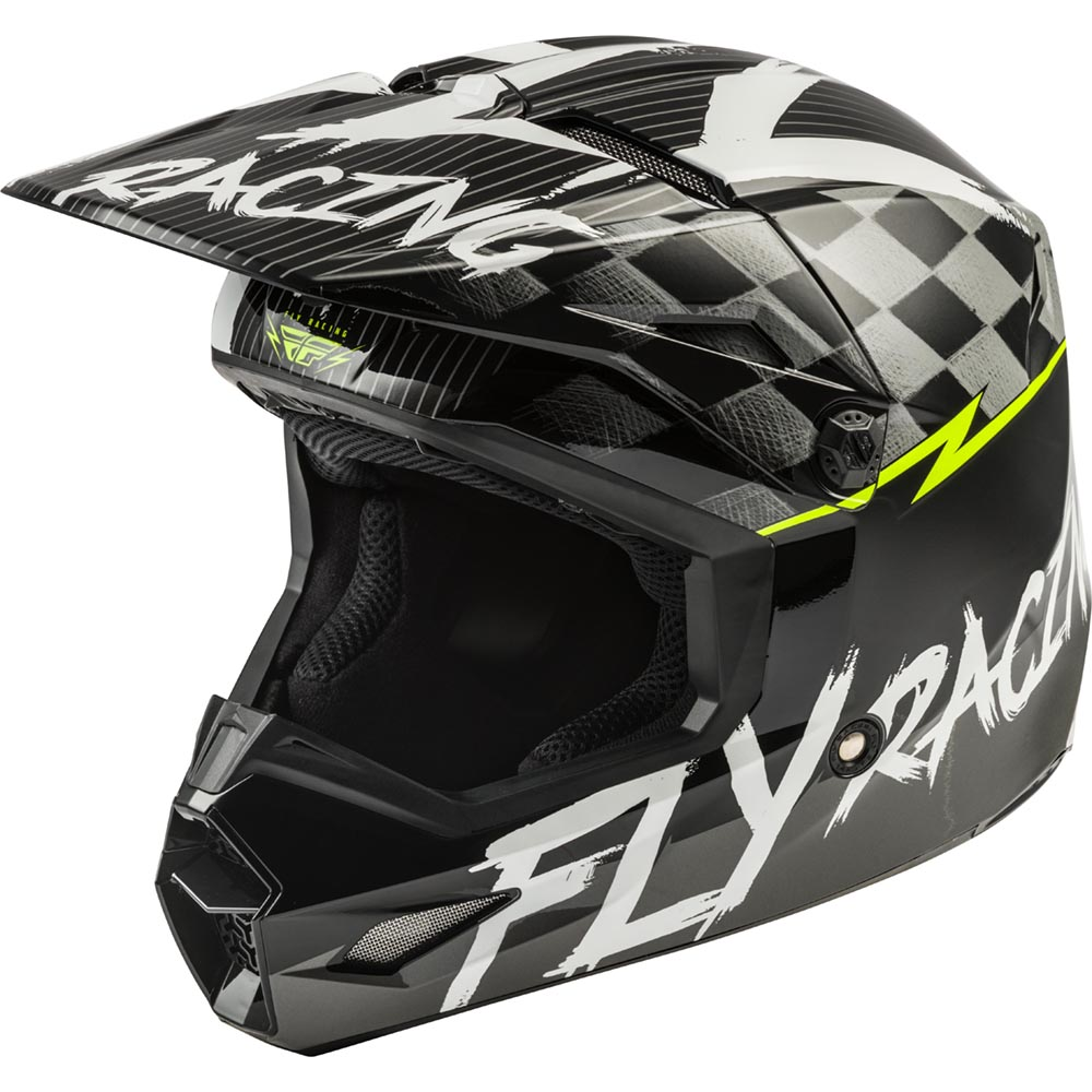 Fly Racing - 2020 Kinetic Sketch Youth Black/White/Hi-Vis шлем подростковый, черно-белый