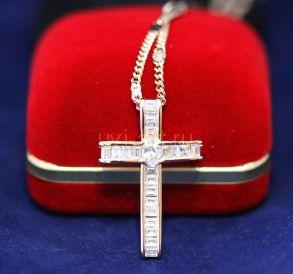 Позолоченный крест с искусственными багетными бриллиантами с цепочкой (арт. 800246)