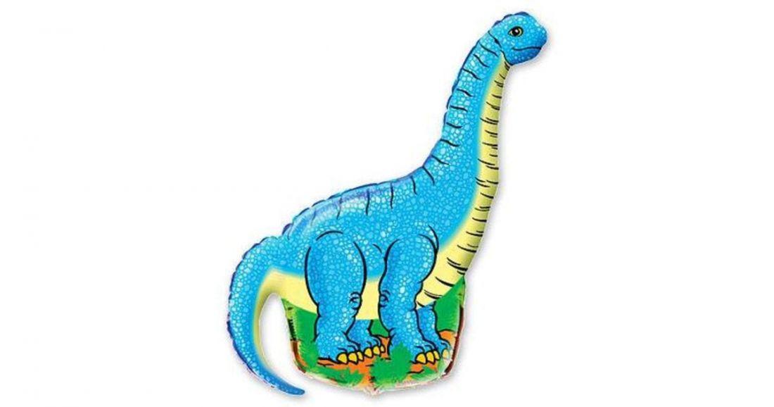 Динозавр Диплодок на палочке шар фольгированный