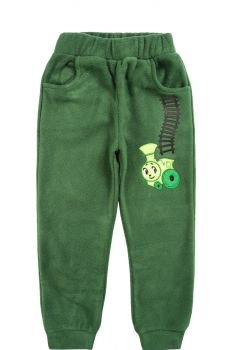 """Флисовые штаны для мальчиков Bonito kids 3-7 лет """"Паровозик"""" зеленые"""