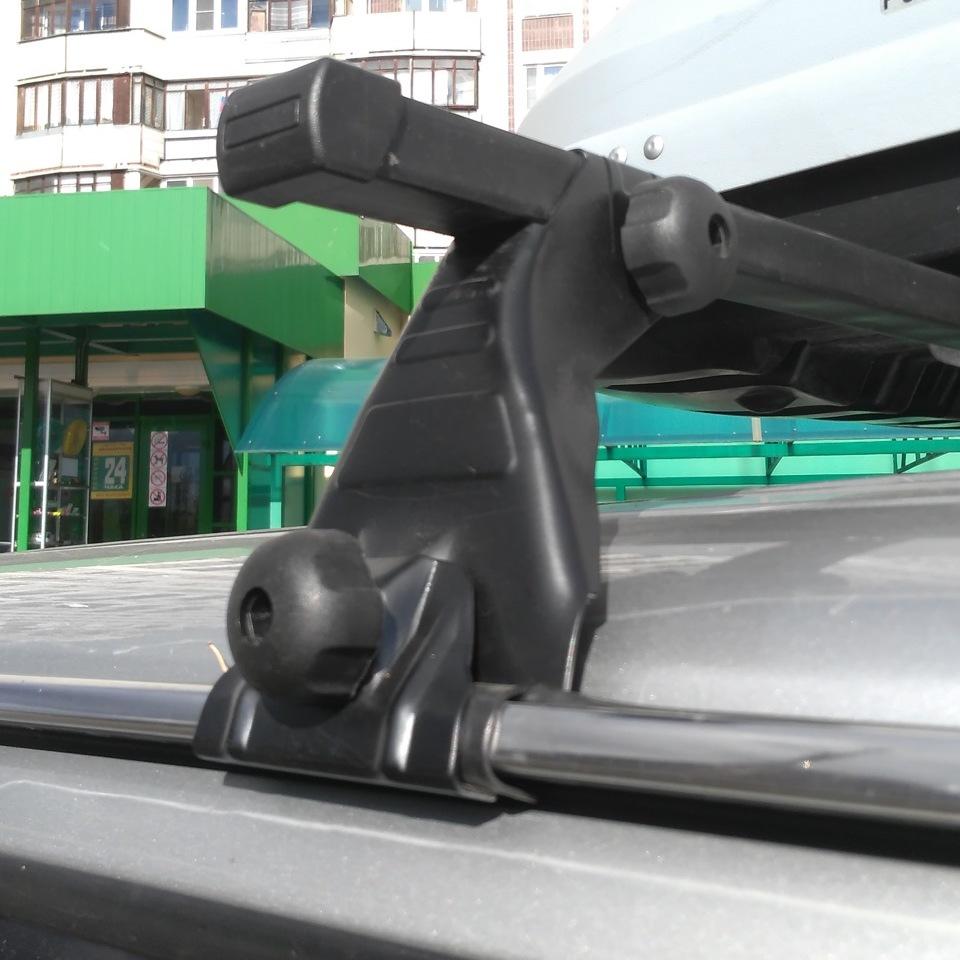 Багажник на крышу на Nissan Patrol 1998-2010, с водостоками, Атлант (Россия) - стальные дуги