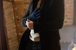 кашемировые вязаные перчатки мужские с подворотом (стёжка кардиган) ,100% драгоценный кашемир, цвет Тёмный Синий Dark Navy CARDIGAN STITCH