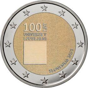 100 лет основания университета Любляны 2 евро Словения 2019