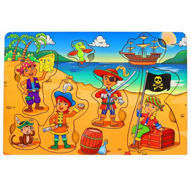 Развивающая игрушка: рамка-вкладка  «Дети-пираты»