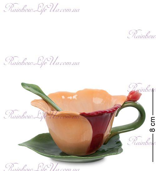 Чайная пара с ложечкой Орхидея ''Pavone''