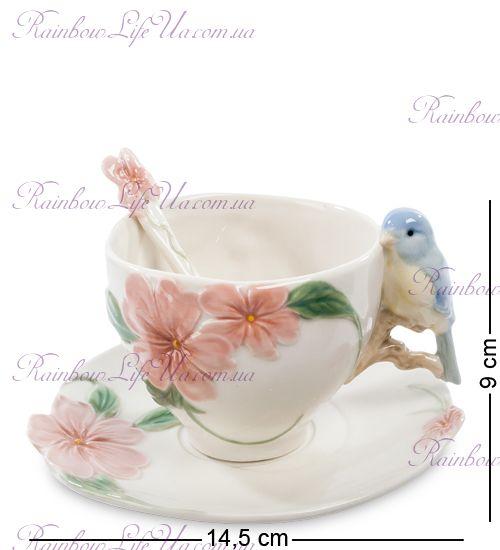 Чайная пара с ложечкой птица Счастья ''Pavone''