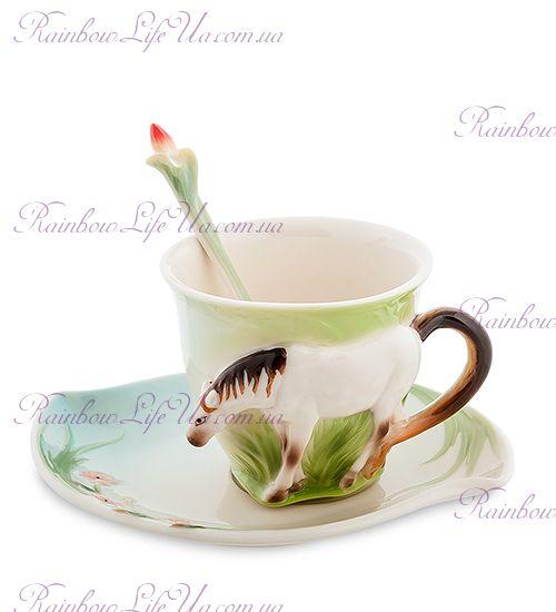 Чайная пара с ложечкой Лошадка ''Pavone''