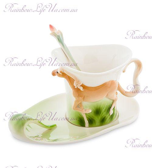 Чайная пара с ложкой Лошадка ''Pavone''