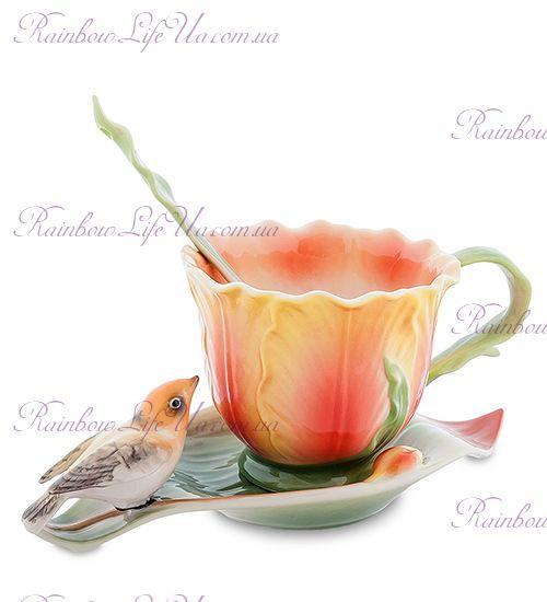 Чайная пара с ложечкой Тюльпаны и птичка ''Pavone''