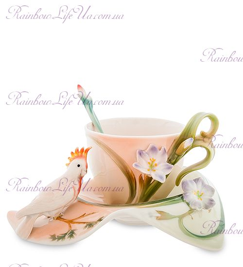 Чайная пара с ложечкой Попугай Какаду ''Pavone''