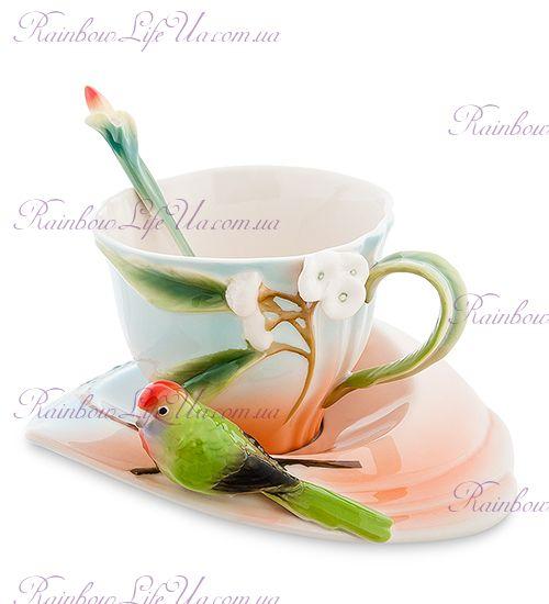 Чайная пара с ложечкой Попугай Розелла ''Pavone''