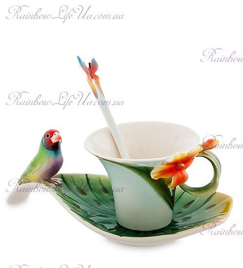 Чайная пара с ложечкой Попугайчик ''Pavone''