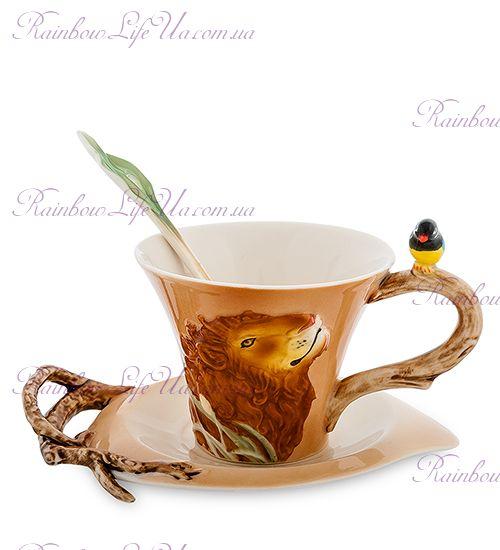 Чайная пара с ложечкой Лев ''Pavone''