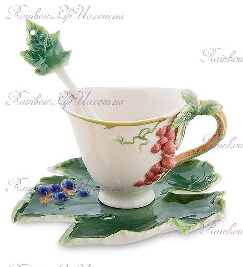 Чайная пара с ложечкой Гроздь винограда ''Pavone''