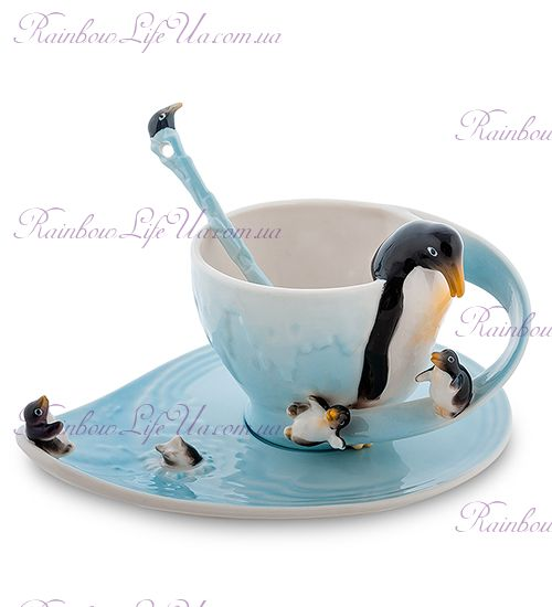 Чайная пара с ложечкой Пингвины ''Pavone''