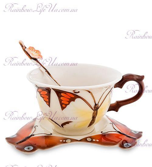 Чайная пара с ложечкой Бабочка ''Pavone''