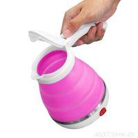 Складной дорожный электрический чайник Collapsible Silicone, 600 мл., Цвет: Розовый