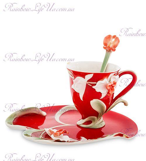 Чайная пара с ложечкой Орхидея белая ''Pavone''