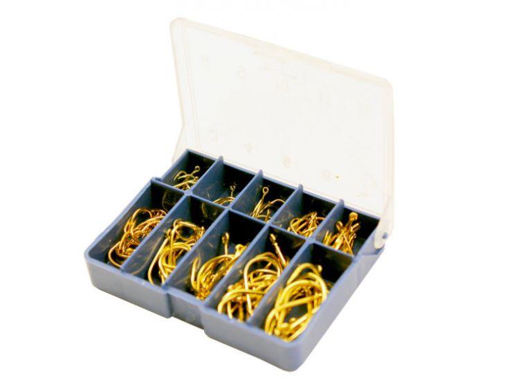 Крючки SWD Набор пластиковая коробка 100 шт золото NK 03