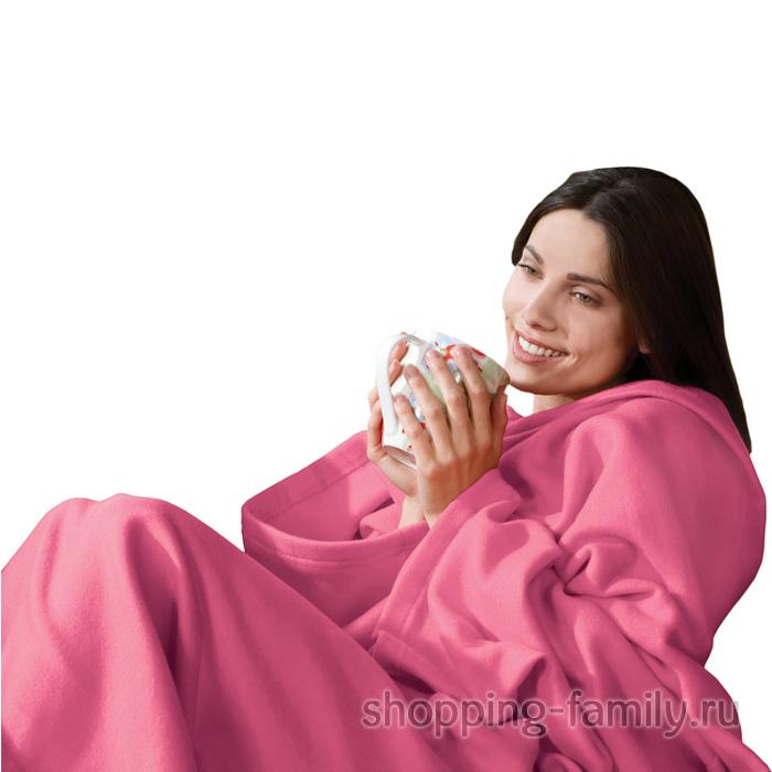 Одеяло-плед с рукавами Snuggle (Снагги), цвет розовый