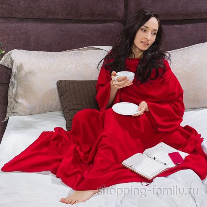 Одеяло-плед с рукавами Snuggle (Снагги), цвет красный