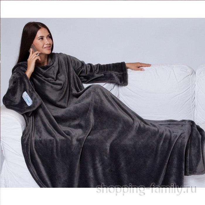 Одеяло-плед с рукавами Snuggle (Снагги), цвет черный
