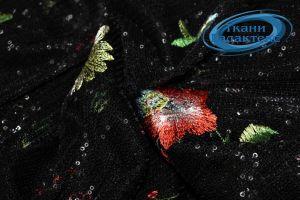 Сетка вышивка пайетки LI-16458/D2/C#1