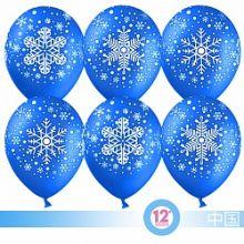 """Снежинка, синий, 5 ст, 12"""", пастель, 100 шт"""