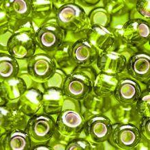 Бисер чешский 57220 прозрачный светло-салатовый серебряная середина Preciosa 1 сорт