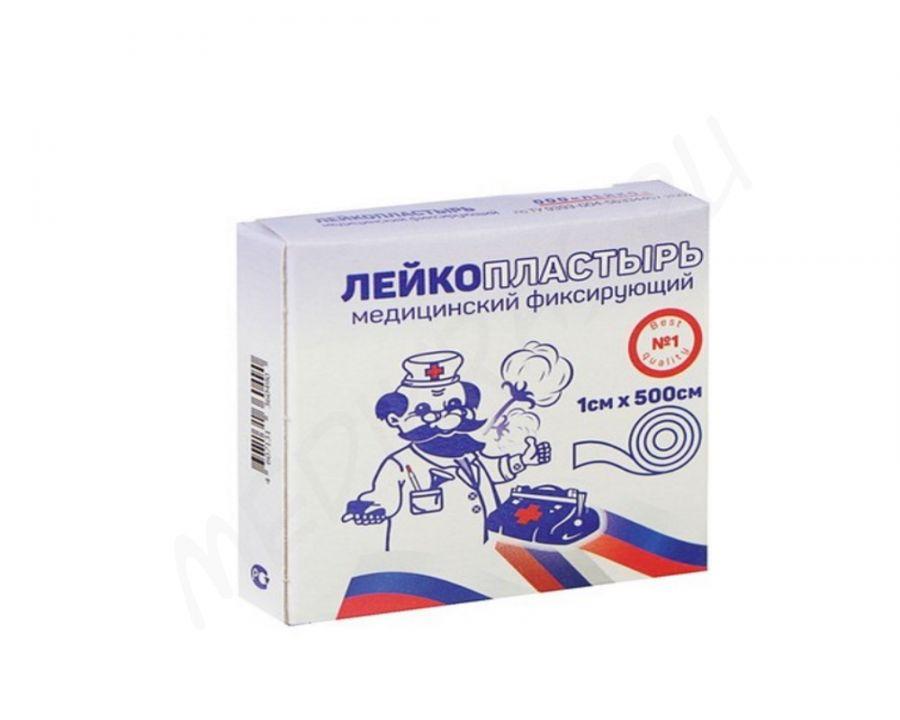 Лейкопластырь на тканевой основе 1х500 см в картонной упаковке Лейко