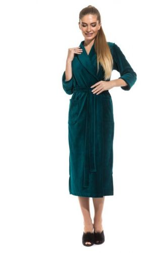 Удлиненный велюровый халат изумрудно-зеленый