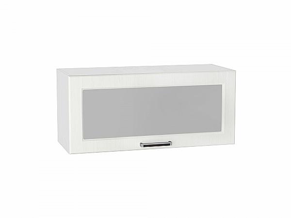 Шкаф верхний Прага ВГ800 со стеклом (Белое дерево)