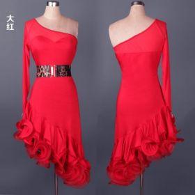 Платье для латинских танцев с воланами красное