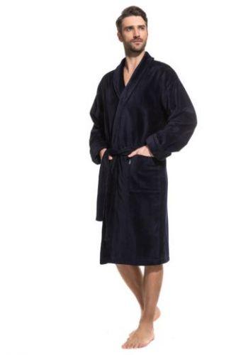 Мужской махровый халат Optimum темно-синий