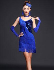 Платье для латинских танцев с бахромой Рио синее