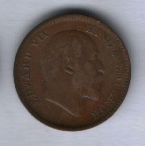1/4 анны 1907 года Индия XF-