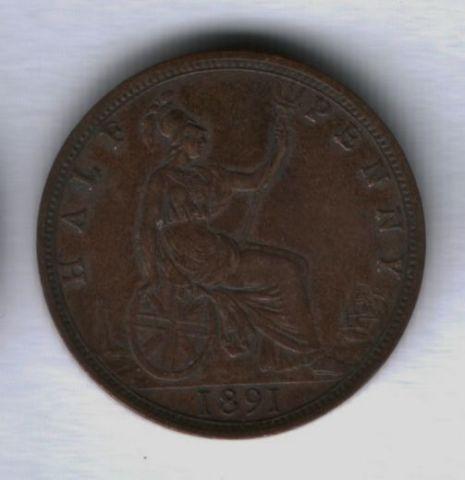 1/2 пенни 1891 года Великобритания XF-
