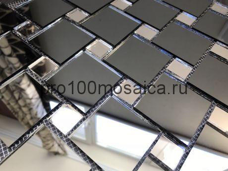 DS50 Серебро+Графит зеркало Мозаика зеркальная серия VANTAGGIO, 300*300*4 мм (VIVERE)