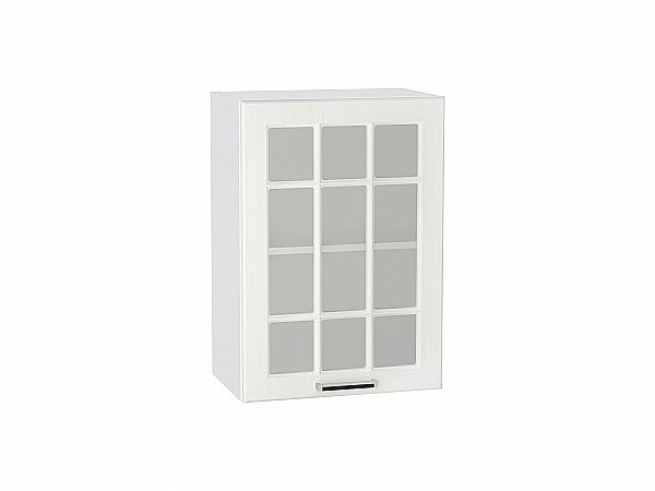 Шкаф верхний Прага В500 со стеклом (Белое дерево)