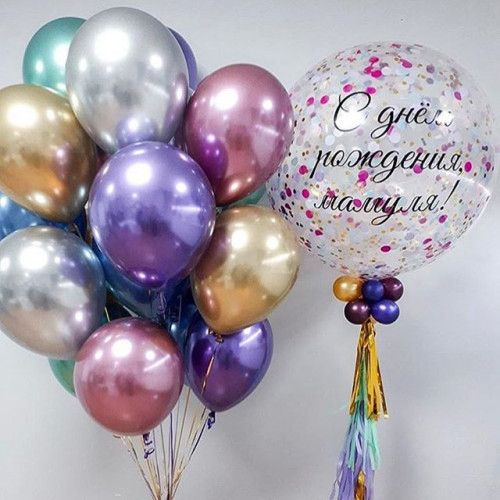 Композиция из шаров хром с шаром гигантом 60 см