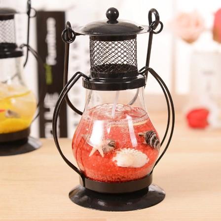 Подарочная гелевая свеча Керосиновая Лампа, 13 см, Цвет Красный