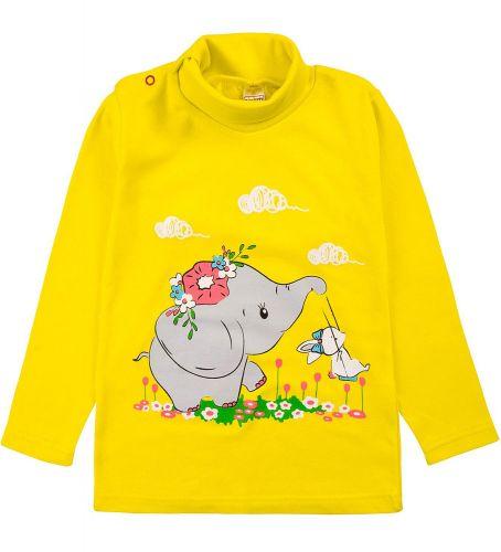 """Водолазка для девочек Bonito kids 1-4 года """"Слоненок"""" желтая"""